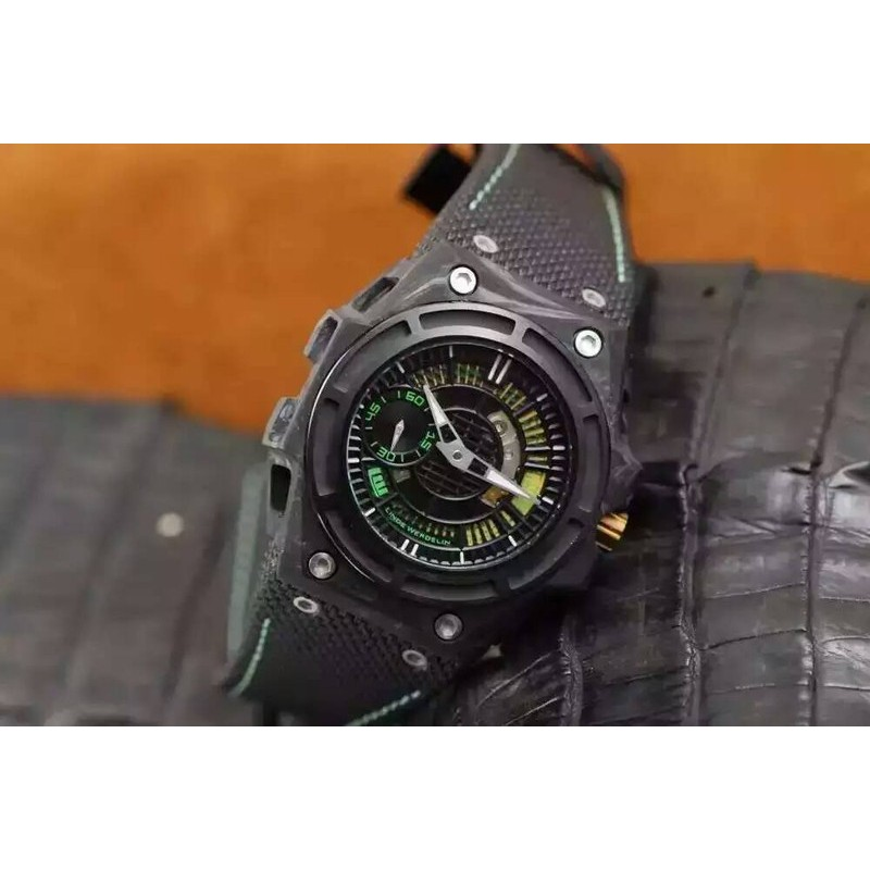 Replica Linde Werdelin Spidolite Tech Gold Forged Carbon Black & Green Dial Swiss 7750 82502
