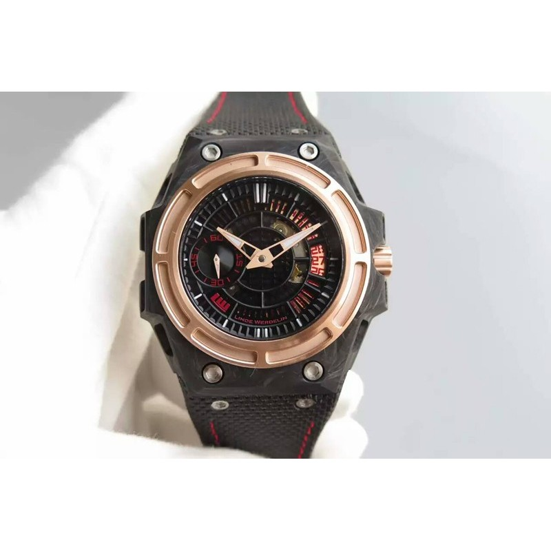 Replica Linde Werdelin Spidolite Tech Gold Geschmiedetem Carbon Black Red Dial Swiss 7750 82501