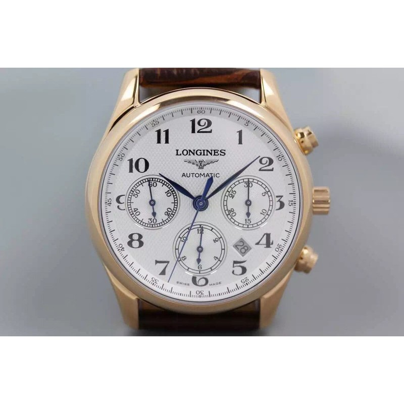 Replica Longines Master Collection Chronograph Rose Gold Weisses Zifferblatt Swiss 7750 82489