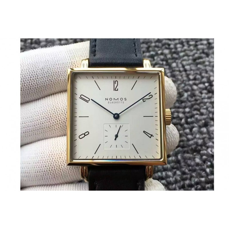 Replica Nomos Tangente Square Yellow Gold White Dial German Alpha 82453