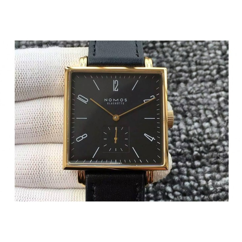 Replica Nomos Tangente Square Yellow Gold Black Dial German Alpha 82449