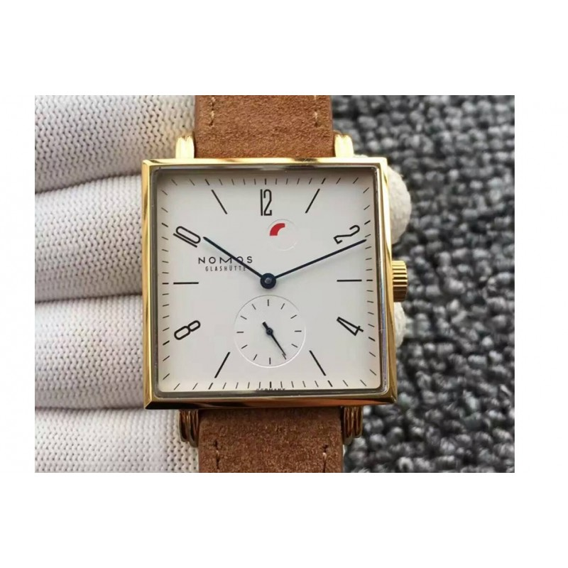 Replica Nomos Tangente Square Yellow Gold White Dial German Alpha 82445