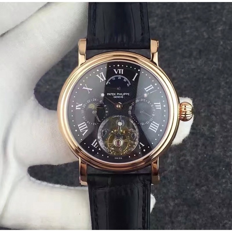 Replica Patek Philippe Grand Complication Tourbillon Roségold Schwarz Zifferblatt Schweizer Tourbillon 81554