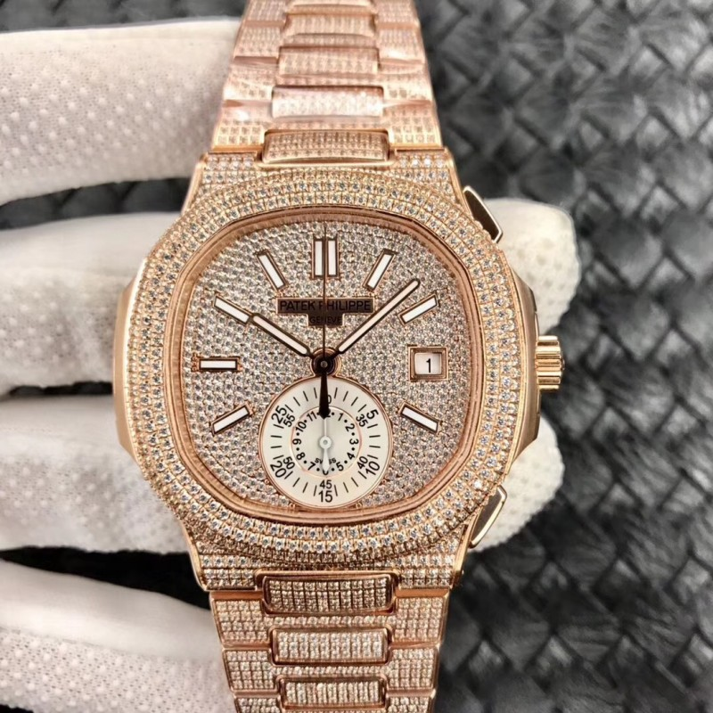 Replica Patek Philippe Nautilus Chronograph 5980 / 1R-001 Pf Roségold Diamanten Diamantzifferblatt Swiss 7750 81784