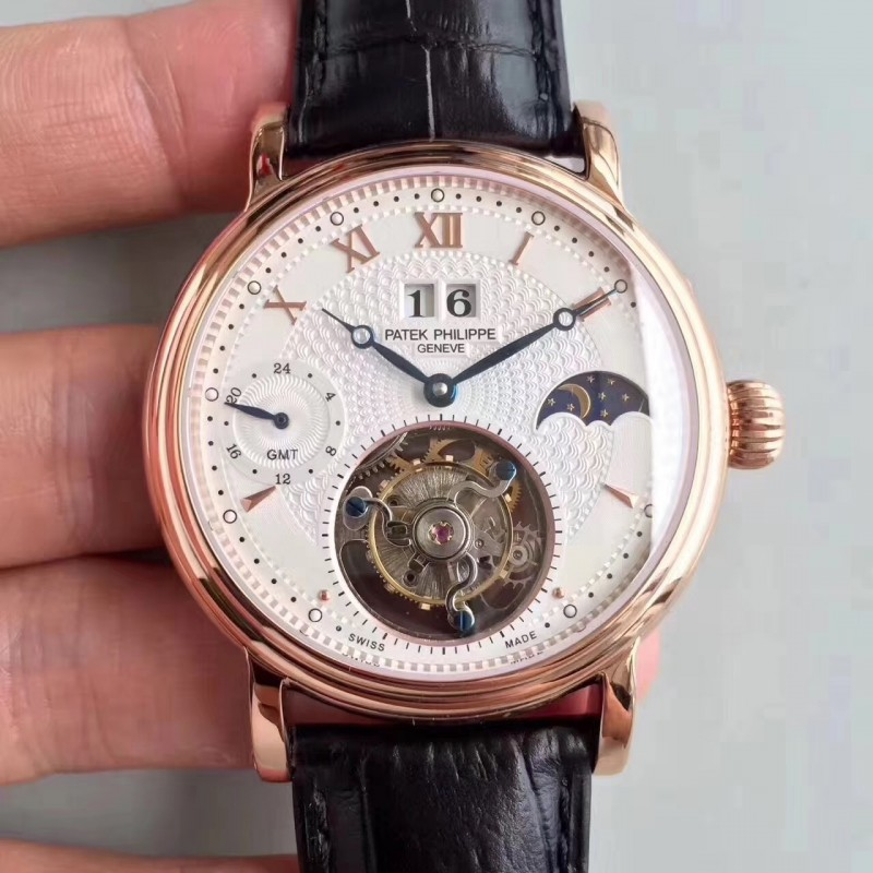 Replica Patek Philippe Grand Complication Tourbillon N Roségold Weißes Zifferblatt Schweizer Tourbillon 81551