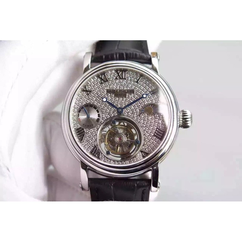 Replica Patek Philippe Tourbillon Mondphase Gangreserve Edelstahl Diamanten Zifferblatt Schweizer Tourbillon 81536