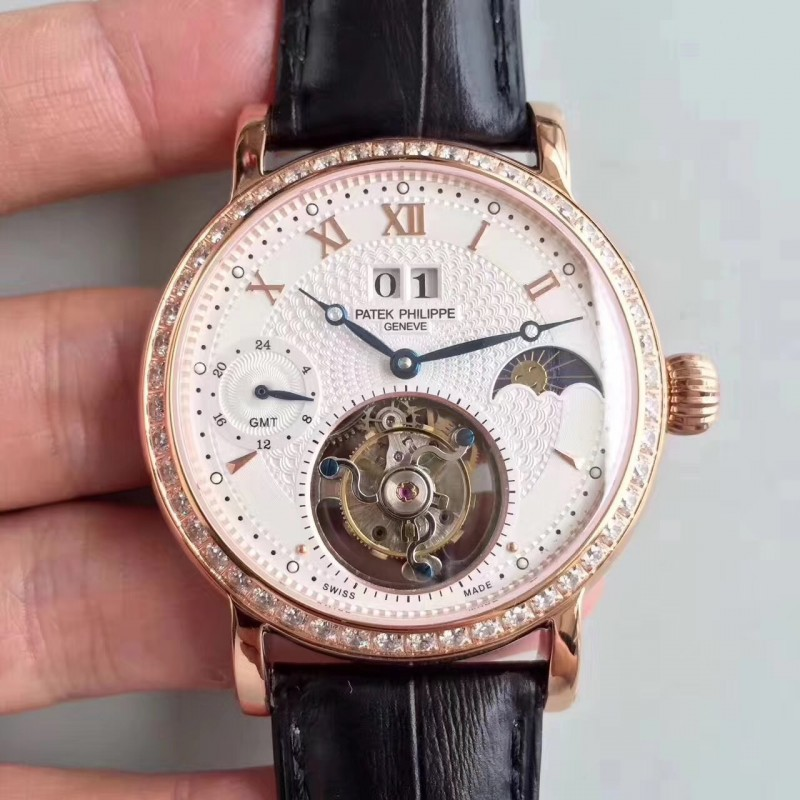 Replica Patek Philippe Grand Complication Tourbillon N Roségold Diamanten Weißes Zifferblatt Schweizer Tourbillon 81535