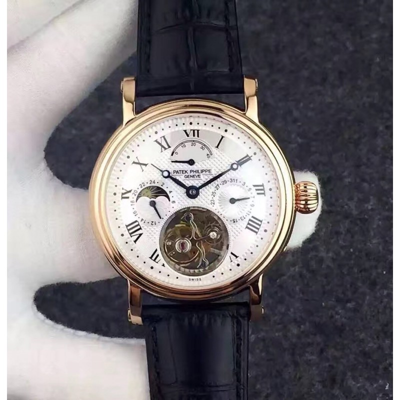 Replica Patek Philippe Grand Complication Tourbillon Roségold Weiß Zifferblatt Schweizer Tourbillon 81534