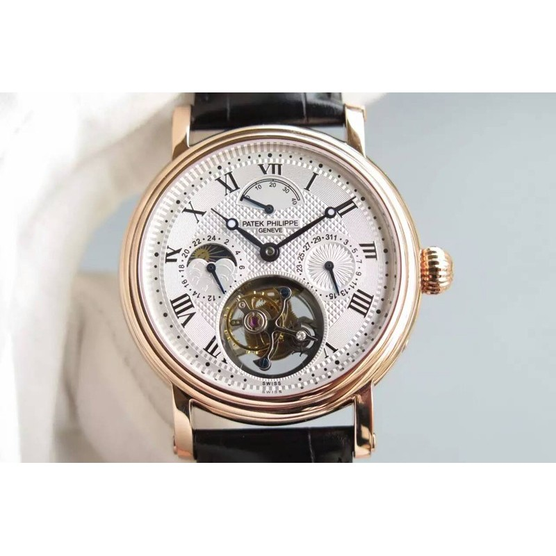 Replica Patek Philippe Grand Complication Tourbillon Roségold Weiß Zifferblatt Schweizer Tourbillon 81531