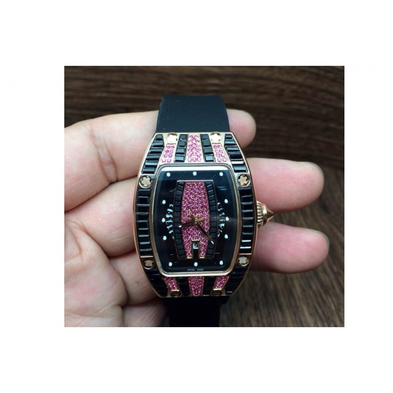 Replica Richard Mille Rm007 Dame Rose Gold Rosa Diamanten Zifferblatt M6T51 81476