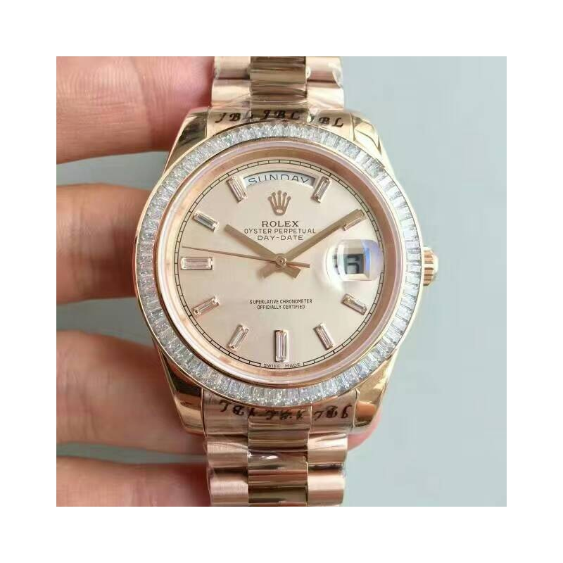 Replica Rolex Day-Date 40 228235 40Mm Kw Roségold Diamanten Creme Zifferblatt Swiss 3255 80898