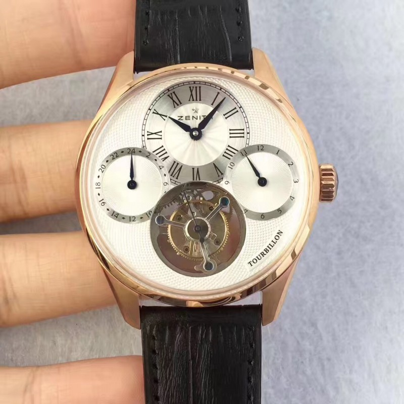 Replica Zenith El Primero Tourbillon BP Rose Gold White Dial Swiss Tourbillon 80054
