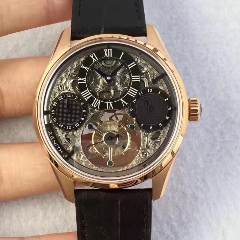 Replica Zenith El Primero Tourbillon BP Rose Gold Skeleton Dial Swiss Tourbillon 80053