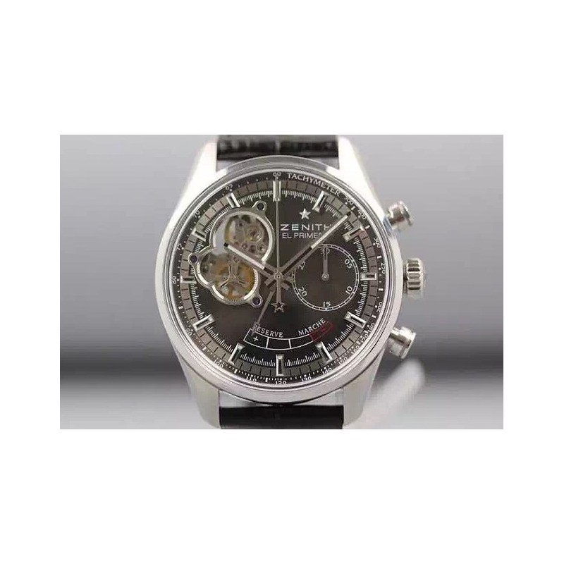 Replica Zenith El Primero SS AXF Anthracite Dial on Black Leather Strap Manual Winding Chronograph Movement 80049