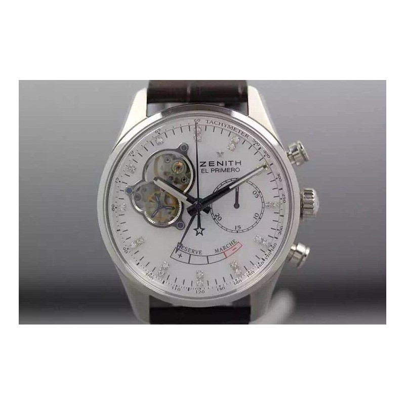 Replica Zenith El Primero SS AXF White Dial Diamonds Markers on Black Leather Strap Manual Winding Chronograph 80048
