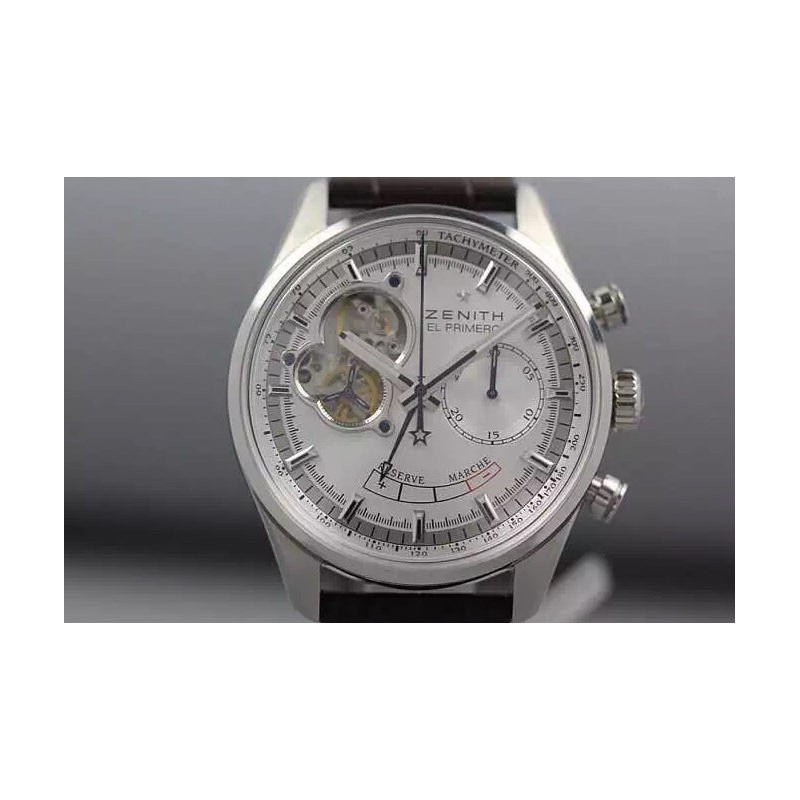 Replica Zenith El Primero SS AXF Silver Dial on Brown Leather Strap Manual Winding Chronograph 80046
